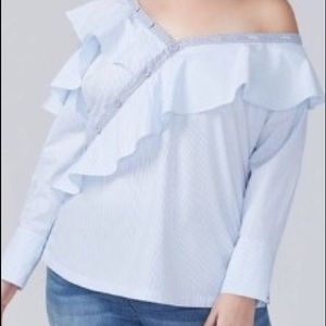 Striped Cold Shoulder Ruffle Top